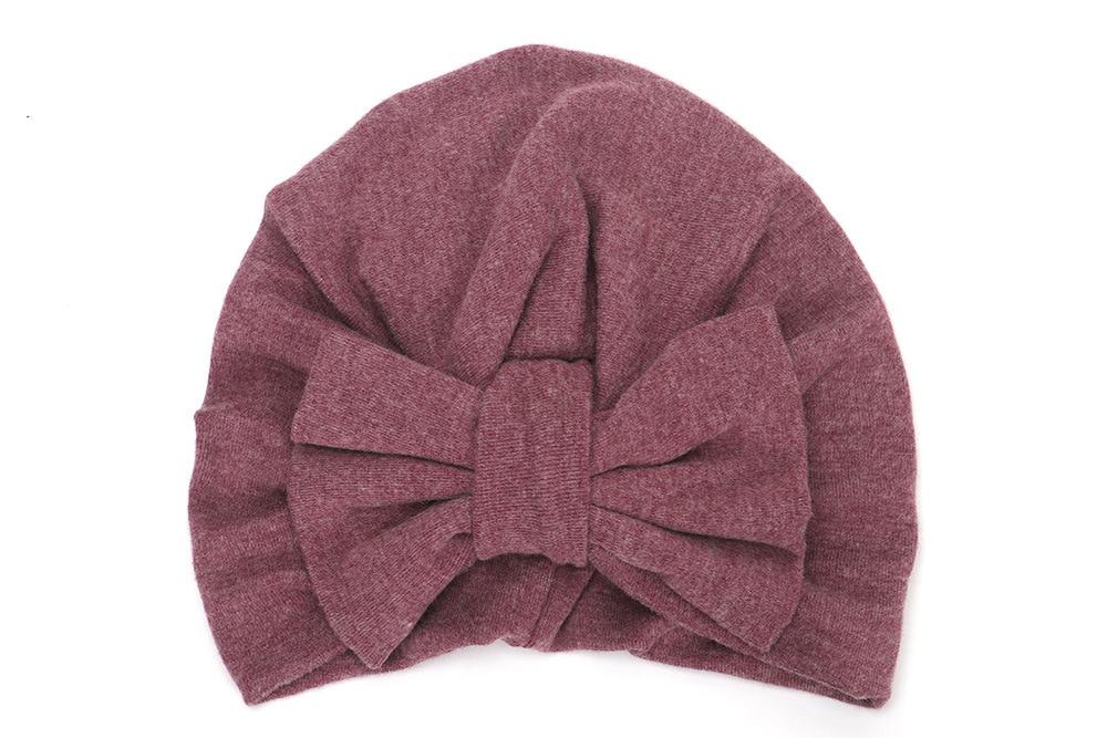 Yundfly Cotton Blend Turban Hat Kids Newborn Big Bow Knot Beanie Stylish Top Knot Caps Shower Headwear Birthday Gift Photo Props