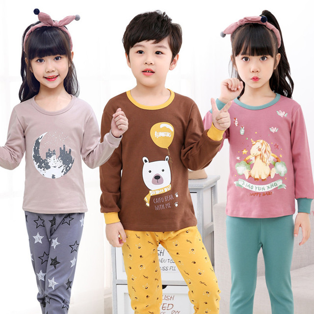 595cba17bc Children Home Wear Clothes 2-14T Boy Girl Night Suit Cotton Sleepwear Kids  Pajamas Sets Baby Nightwear Long Sleeve Clothing Sets