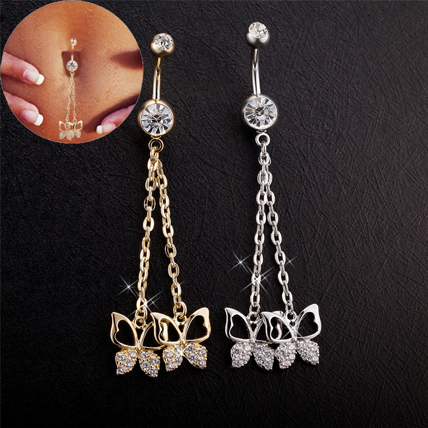 Us 3 22 15 Off Gussiarro Dangle Butterfly Chains Jewelry White Gold Color Belly Button Rings Piercing Navel Piercing De Umbigo Com Zirconia In Body