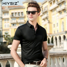 HIYSIZ New Men T-Shirts 2019 Soft Silk Streetwear Popular Solid Casual T Shirt Turn-down Collar For Summer ST025