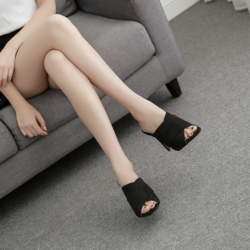 Liren 2019 New Flock Sandals Open Toed Sexy Thin Heels Crystal Women Peep Toe Sandals Slippers Pumps Size 35 39 in High Heels from Shoes