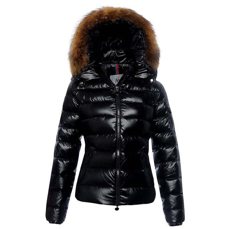 € 117.1 24% de réduction|Femmes vestes d'hiver brillant vers le bas manteau femmes hiver doudoune en fourrure naturelle femme Slim veste dame canard