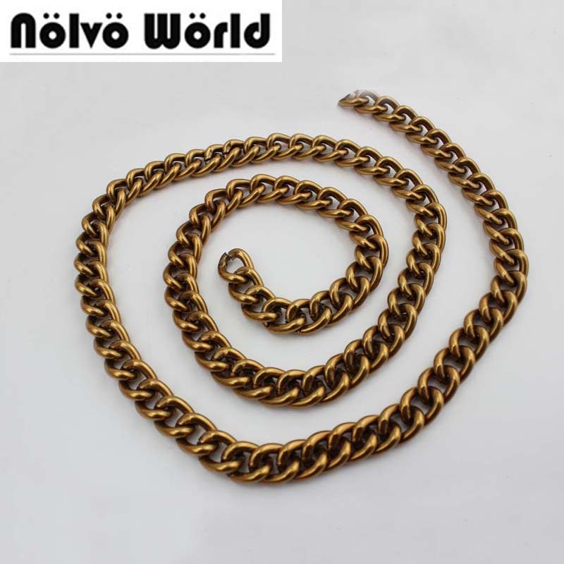Alum Chain 12mm Antique Gold color Roller metal BIG old gold Alum chain for hand bags long strap 10meters/lot wholesale price