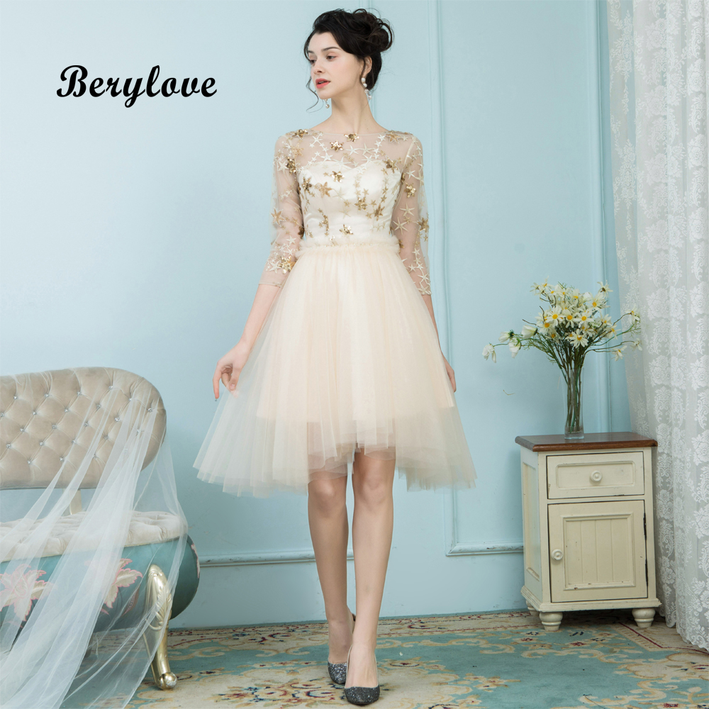 BeryLove Asymmetrical Knee Length Champagne   Prom     Dresses   3/4 Sleeves Sequins   Prom   Gowns 2019 Homecoming   Dresses   Graduation   Dress