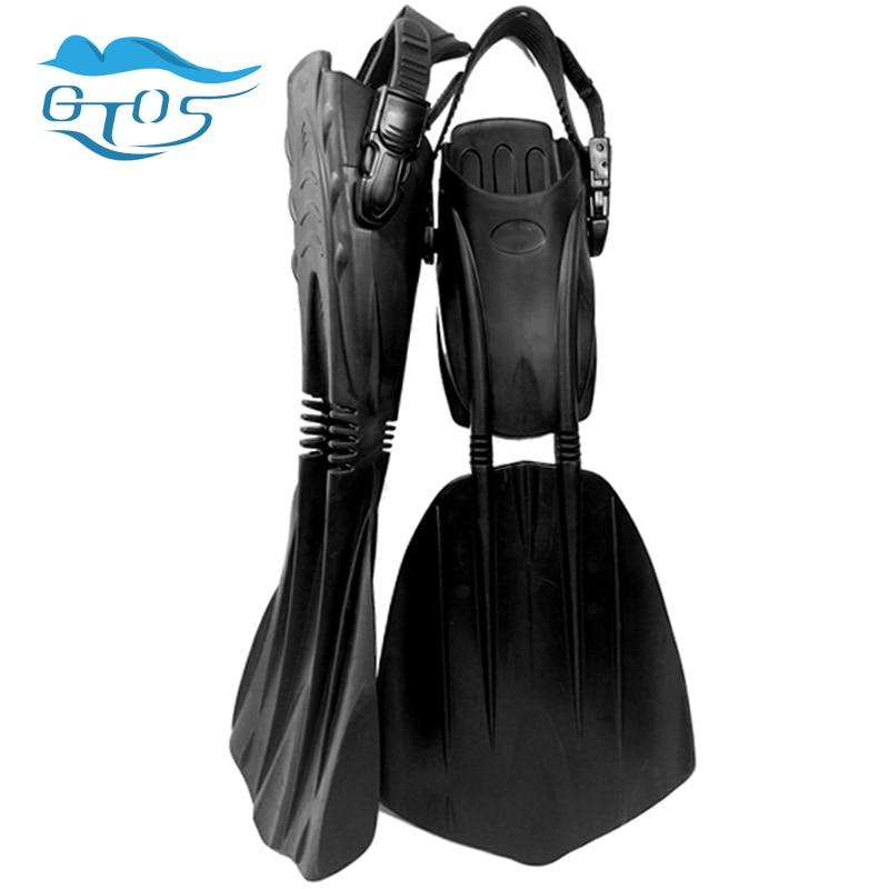Professional scuba diving fins open heel adjustable straps long flippers free dive fins equipment for men