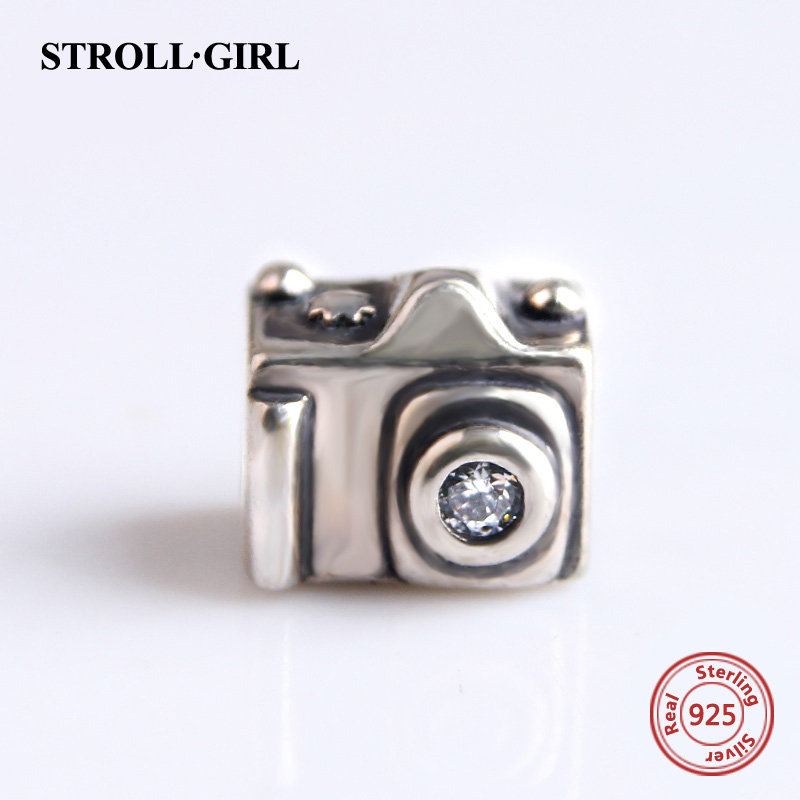 Authentic 925 Sterling Silver Camera Charm Beads With CZ Fits pandora Charms Bracelet & Bangle DIY Jewelry For LOVE Gifts