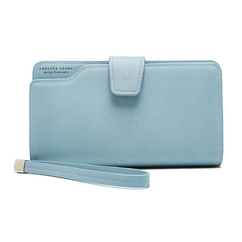 Женский кожаный кошелек, кошелек для отдыха, 3 сложения, высокое качество, Женский Длинный кошелек для монет, много слотов для карт, кошельки, Carteira Feminina - Цвет: Blue