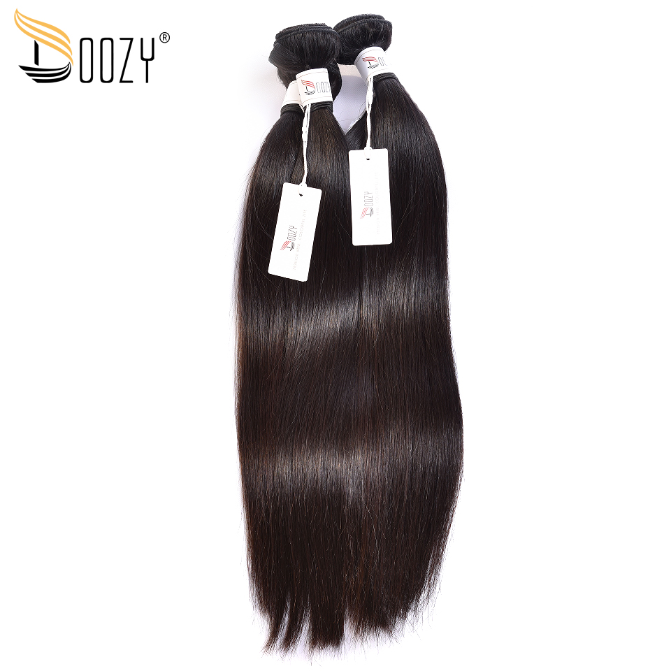 Doozy Natural Color Straight Brazilian Hair 3 Bundles Double Weft Remy Human Hair Weave