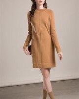100% козья кашемир толстый вязаный для женщин Мода средней длины свитер пуловер платье Половина Высокий воротник S/M/L Розничная и опт