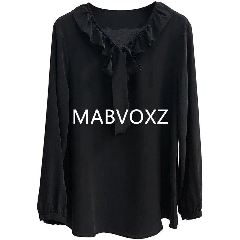 100 Silk 2019 New Women White Black Shirt Bow Tie Ribbon Ruffle Neck Sweet Blouse Elegant