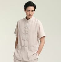 Hot Sale Chinese Tai Chi Solid Red Man Short Sleeve Dress Shirts Cotton Linen Kung Fu