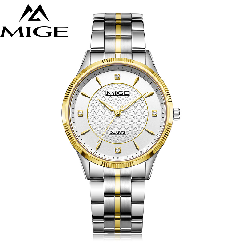 Mige 2017 Top Brand Luxury Real Hot Sale Fashion Casual Lover Man Watches Gold Case White Dial Waterproof Quartz Mans Watch