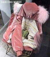Женская зимняя Золотая Бархатная короткая куртка с натуральным кроличьим мехом подкладка розовая парка натуральный мех енота воротник теп