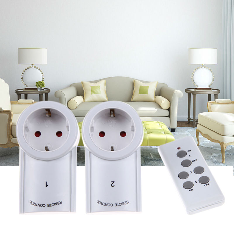 EU/US 3 Pack Wireless Remote Control Power Outlet Light Switch Plug Socket