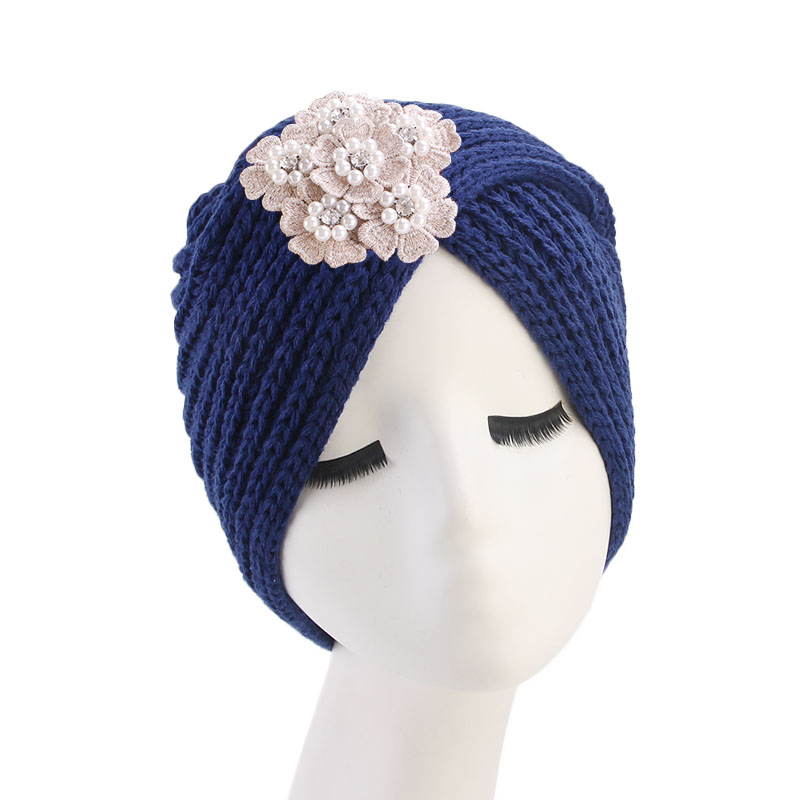 Winter Knitted Beanie Headband handmade Beanie With Jeweled flower vintage Knit Turban Head wrap Hijab women Turbante in Women 39 s Hair Accessories from Apparel Accessories
