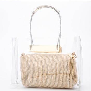 Emarald Clear plastic handbags Summer Fashion women Shoulder messenger bag composite bags transparent straw purse beach Handbag алиэкспресс сумка прозрачная