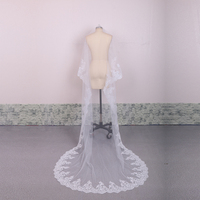 Free shipping Vestido Noiva Casamento 2.6 Meter Long Tulle Wedding accessories Bridal Veils White/ivory Wedding Veil With Bride