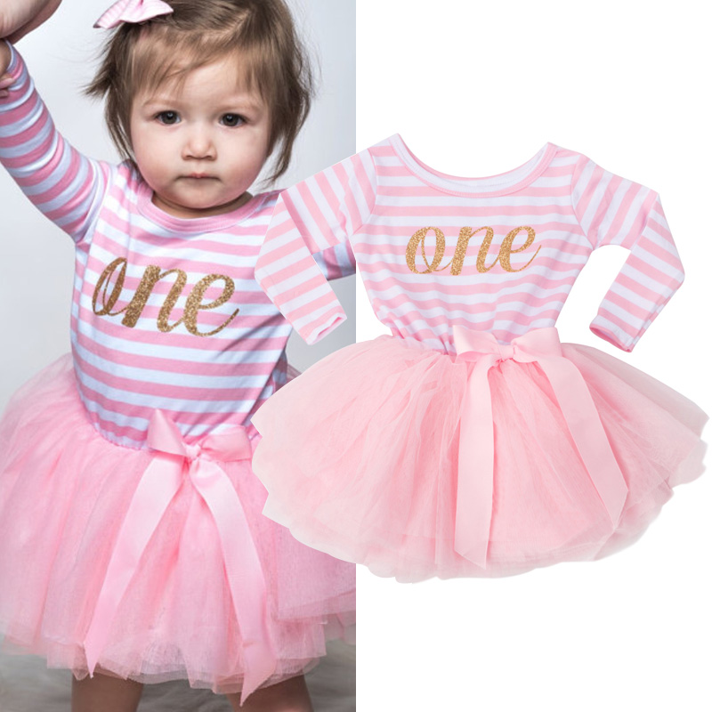 fcb3b8323 Spring Summer Baby Girl Dress Clothes For Newborn Infant 2 3T Birthday  Party Outfits Long Sleeve Striped Baby Boutique Clothing
