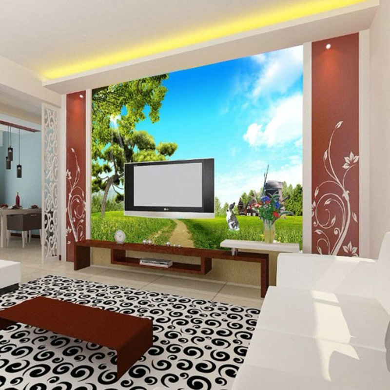 Customized Wallpaper Mural Large 3D Natural Scenery With Blue Sky Trees Behind Sofa As Background In Living Room