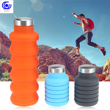 500ml Portable Silicone Water Bottle Retractable Folding Outdoor Travel Coffee Drinking Collapsible Sport Drink Kettle Cup