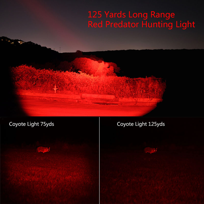Купить с кэшбэком 500 Yards Red Light Hunting Flashlight 67mm Lens Zoomable Focus Red Light LED Hunting Flashlight+Pressure Switch+18650 Battery