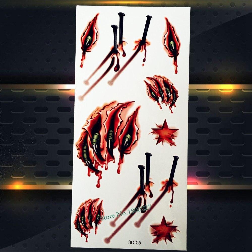 1PC Kids Xmas Gifts TEmporary Tattoo MEn Body Art ArmBand Tattoo Stickers P3D-05 Halloween Tattoo Blood Paw Nail Designs
