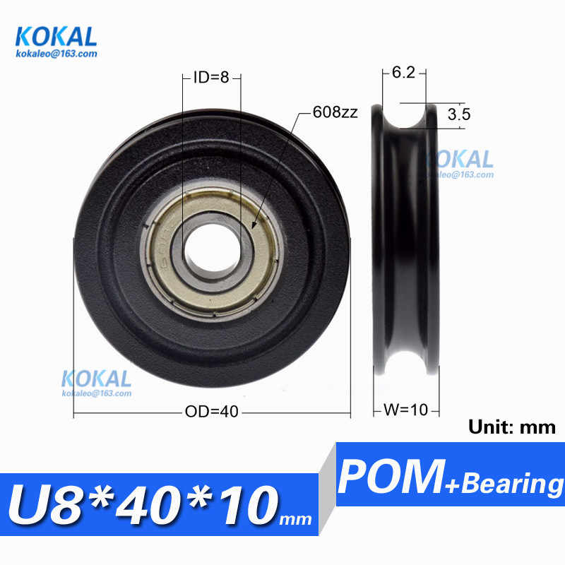 [U0840-10] 1 PCS Factory Direct Koop U groef kogellager wiel roller 8*40*10 MM 608ZZ Nylon Wiel