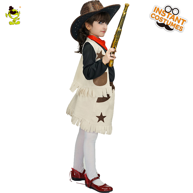 Western Cool Cowgirl Costumes With Star Print Kids Carnival Party
