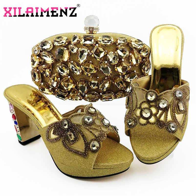 Colore rosso Africano Pantofole con il Sacchetto di Corrispondenza per la Donna Nigeriano Partito Scarpe e Borsa Set Italiano Scarpe Da Sposa con il Cristallo