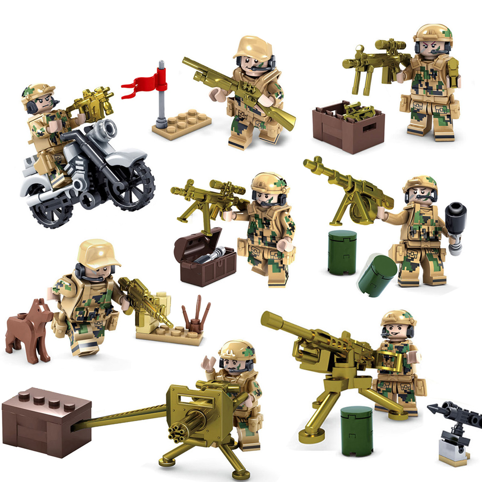 Kazi 8pcs Military field Soldiers Bricks Building blocks Compatible legoed army Weapon figures Enlighten children toys friends large military 8 in1 747pcs 8 figures building blocks tank warship army war toys for children constructor set compatible lepin
