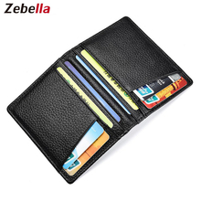 Zebella Business Credit Card Holders For Men 100% Genuine Cow Leather Black ID Card Holder Women Aluminum Blocker Box Card Case 2018 new fashion unisex credit card holders genuine leather multi pvc card slots metal hasp business card id holders cow leather