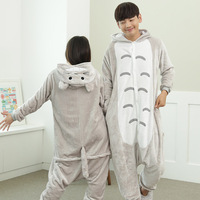 Cartoon Pijama Cosplay Totoro Home Clothes Flannel Warm Animal Pajamas One Piece For Adults Onesie Couple Pajama Sets