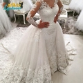 Robe De Mariee 2017 Mermaid Wedding Dresses Detachable court Train long sleeves Wedding Dress Vestidos De Novia Wedding gowns