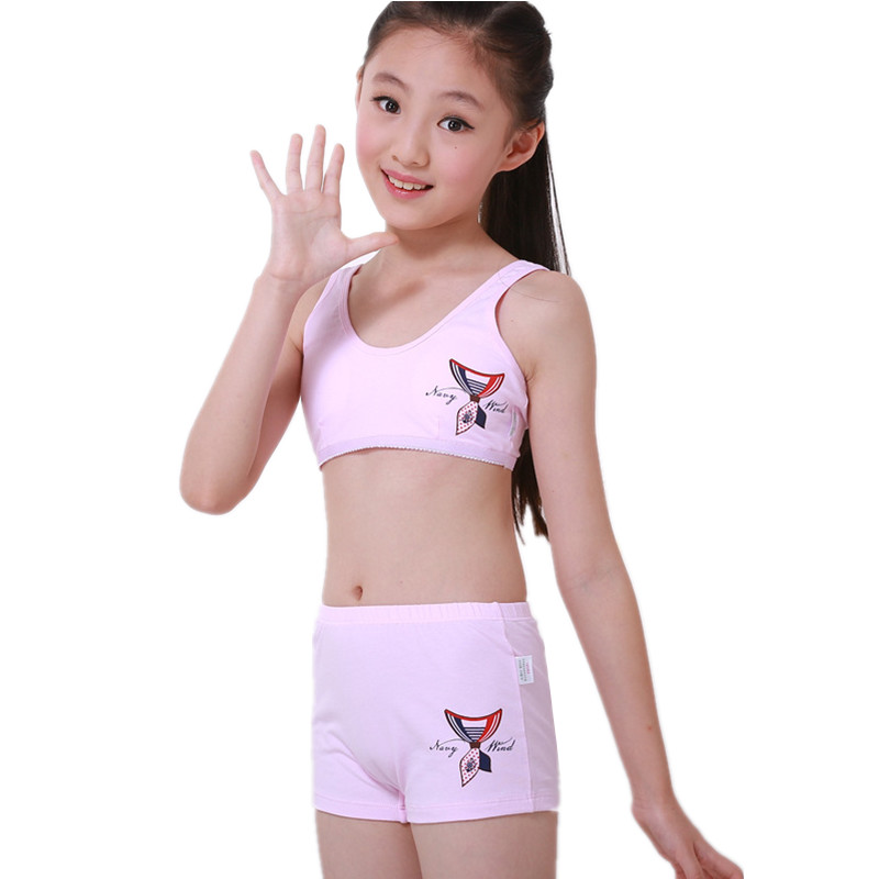7e447c8a0d3 Puberty teenager tank tops underwear set for girls children sports camisole  boxer panties for puberty kids girls cosy undies