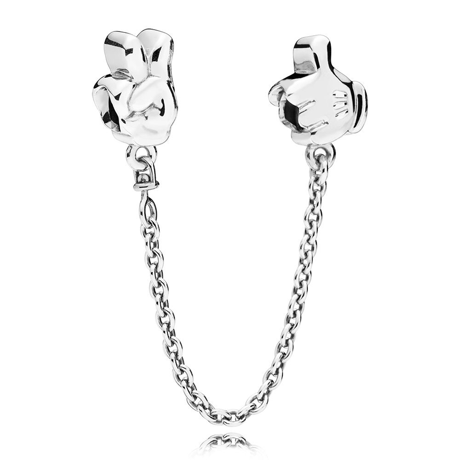 Authentic 925 Sterling Silver Mickey Gestures Safety Chain Bead Charm Fit Pandora Bracelet Bangle For Women DIY Jewelry