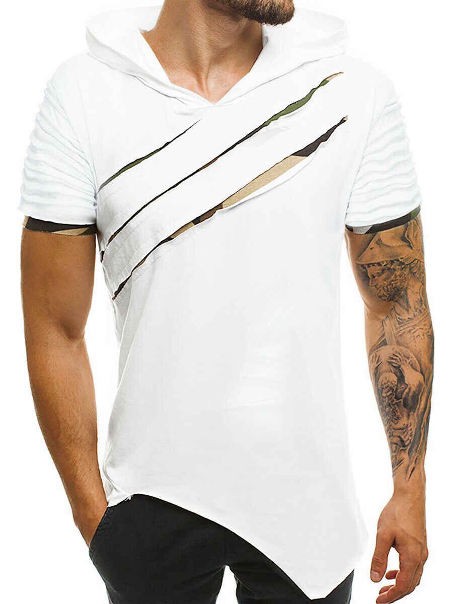 2019 ブランド新メンズ半袖シャツリッピング迷彩フード付き Tシャツスリムフィット倍トップス