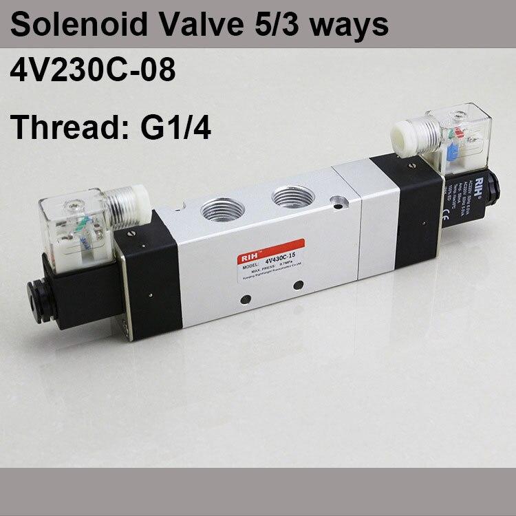 G1/4 4V230C-08 3 Position 5 Way Air Solenoid Valves Pneumatic Control Valve , DC12v DC24v AC 24V AC110v 220v
