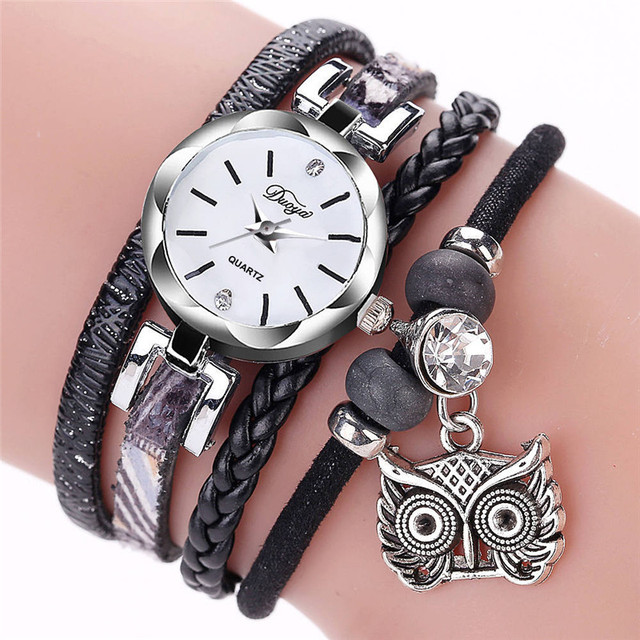 Women Famous Brand Watches Fashion Women's Ladies Fine Leather Winding Analog Qu