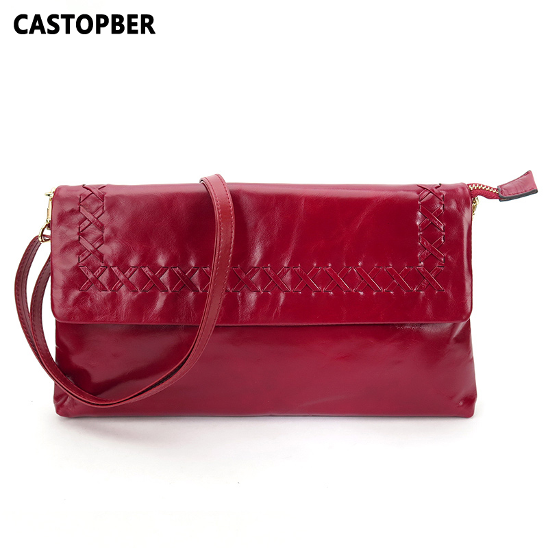 Oil Wax Leather Handbags Genuine Leather Cowhide Weave Knitting Women Crossbody Bags Day Clutch Messenger Designer High Quality