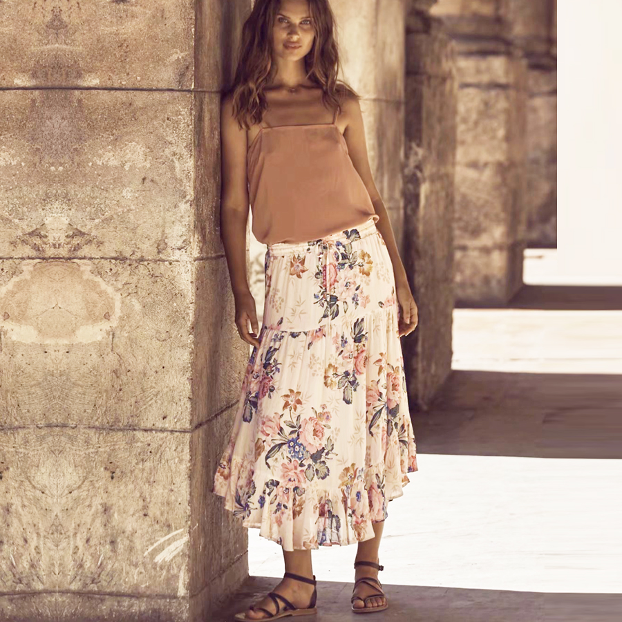 b9d885eef5 Detail Feedback Questions about Hippie long skirt 2017 new summer beach  cream color floral print elastic waist large swing Holiday BOHO brand Women  Skirts ...