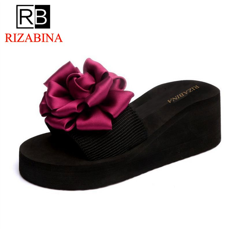 RizaBina Fashion Summer Shoes Women High Heels Wedges Slippers Ladies Flower Thick Platf ...