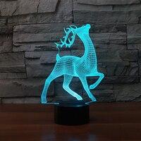 7 Color Changing Kids Usb Gifts Deer 3D Night Light LED Table Lamp Christmas Elk Baby