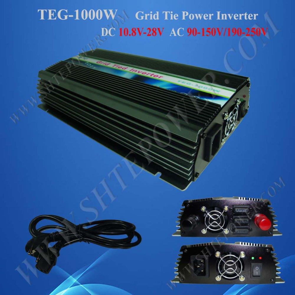 1KW Power Inverter for Solar Panel On Grid System, DC 10.8V-28V to AC 90V-150V, One Year Warranty, High Quality