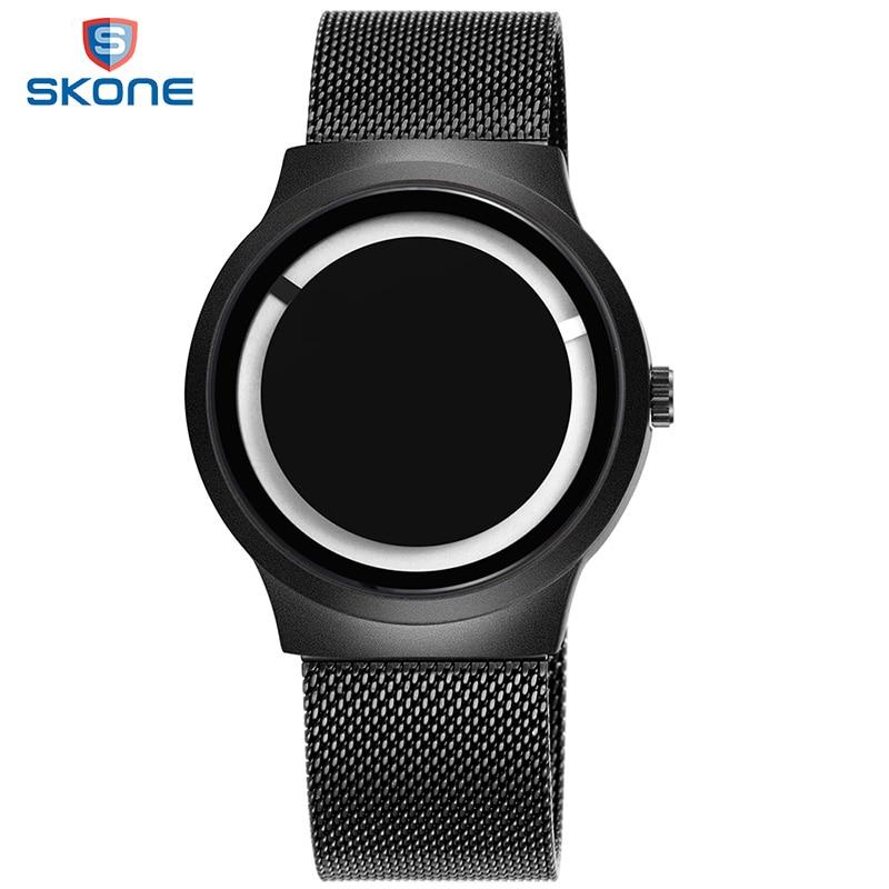 2017 New SKONE Creative Men Watches Luxury Black Quartz Watches Mens Stainless Steel Mesh Belt Watch Relogio Masculino #7431 skone relogio 9385