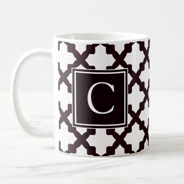 modern personalised quatrefoil monogram coffee mug tea cup custom