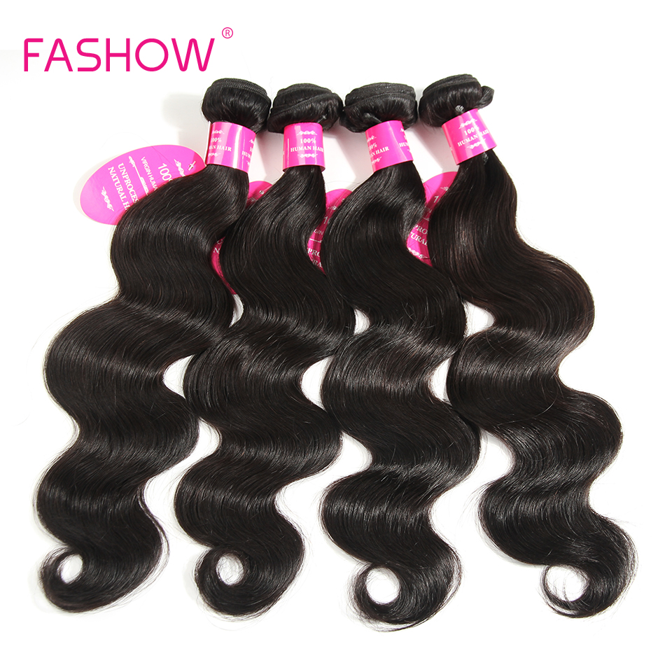Fashow Hair Indian Body Wave Human Hair Weave <font><b>Bundles</b></font> 10 12 14 16 18 20 <font><b>22</b></font> <font><b>24</b></font> <font><b>26</b></font> <font><b>28</b></font> Inch Natural Color Non Remy Indian Hair image