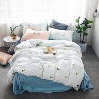 Fresh Green Leaves Printed Duvet Cover Set 100 Cotton White Bedding Set Queen King White Duvet