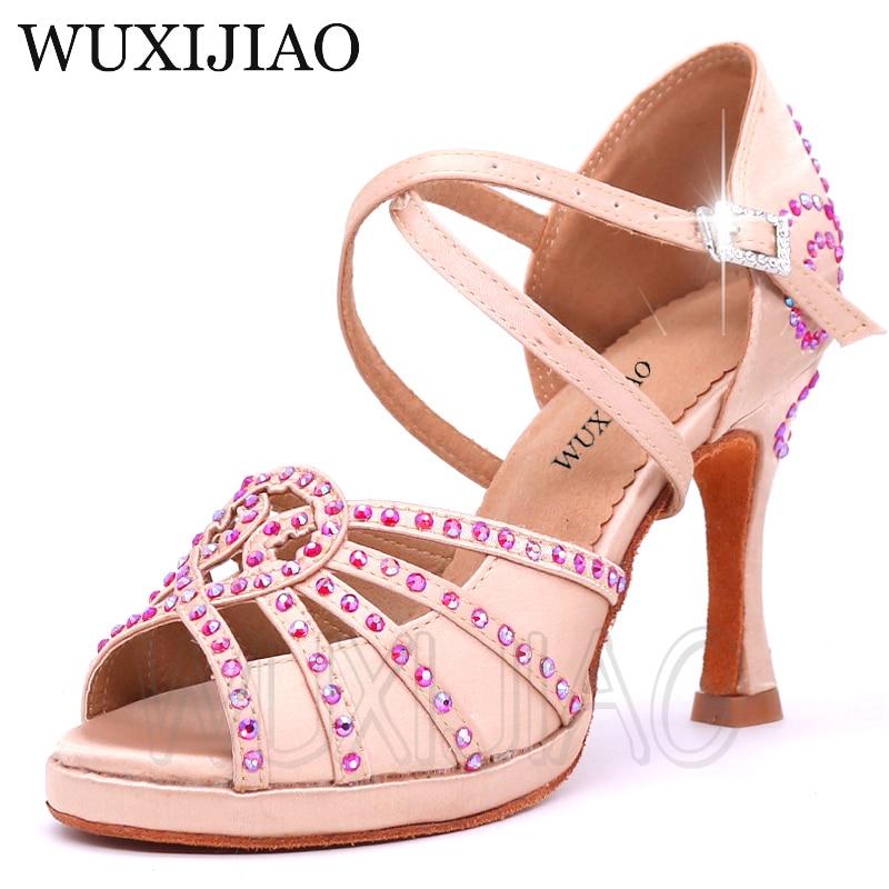 WUXIJIAO Latin dance shoes Red flash rhinestone shining Skin Black satin Women Salsa party Ballroom shoes