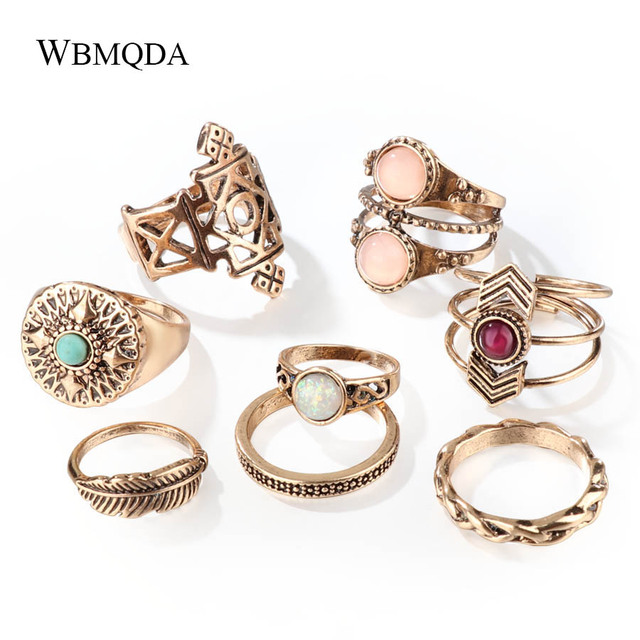 8 Pcs/lot Indian Gold Silver Opal Feather Knuckle Ring Set Vintage Geometric Mid