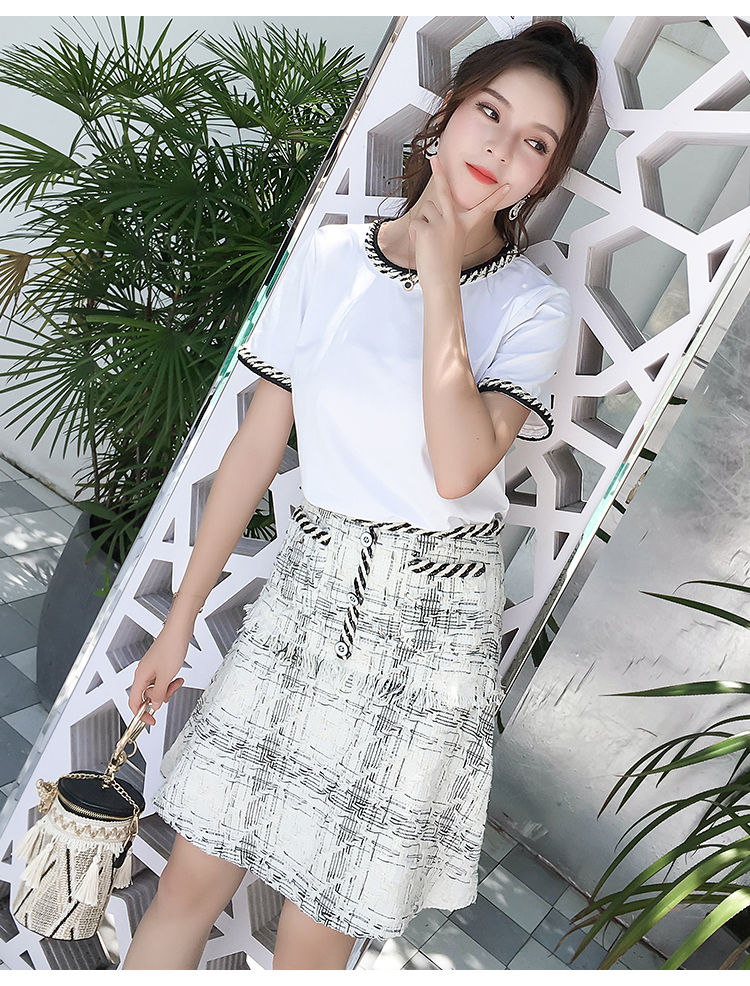 Amolapha Women Summer Tweed Tassel Patchwork Tshirt Tops Woolen Plaid Skirts Clothing Sets 2 Pieces Suits